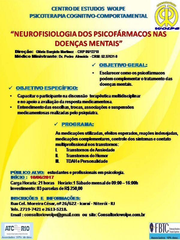 Ref: NEUROFISIOLOGIA DOS PSICOFÁRMACOS NAS DOENÇAS MENTAIS
