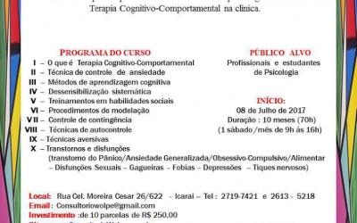 Curso de Formação em Terapia Cognitivo-Comportamental: Orientação e Aplicação Clinica