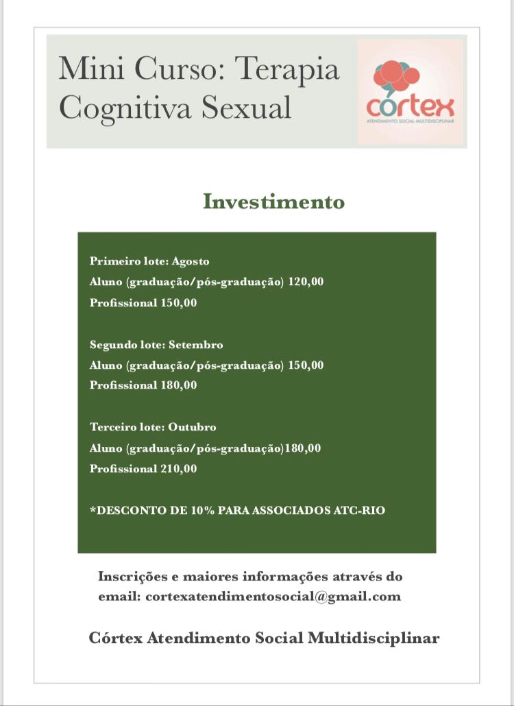 Mini curso : Terapia Cognitiva Sexual.