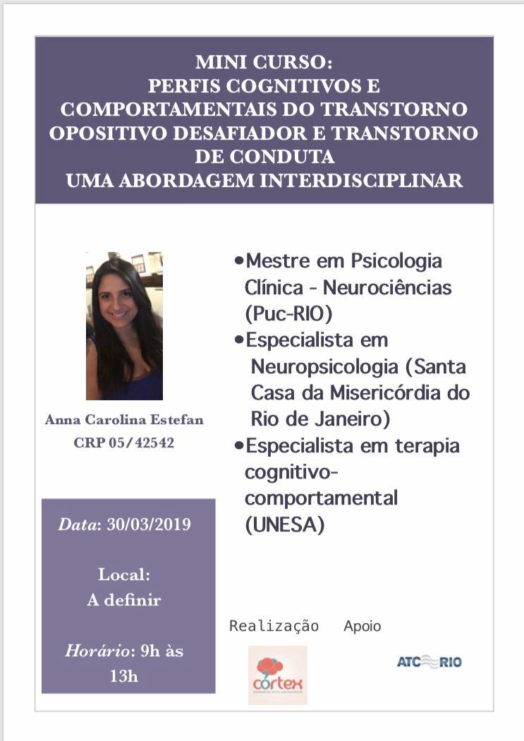 Minicurso: Perfis cognitivos e comportamentais do transtorno opositivo desafiador e transtorno de conduta | Uma abordagem interdisciplinar