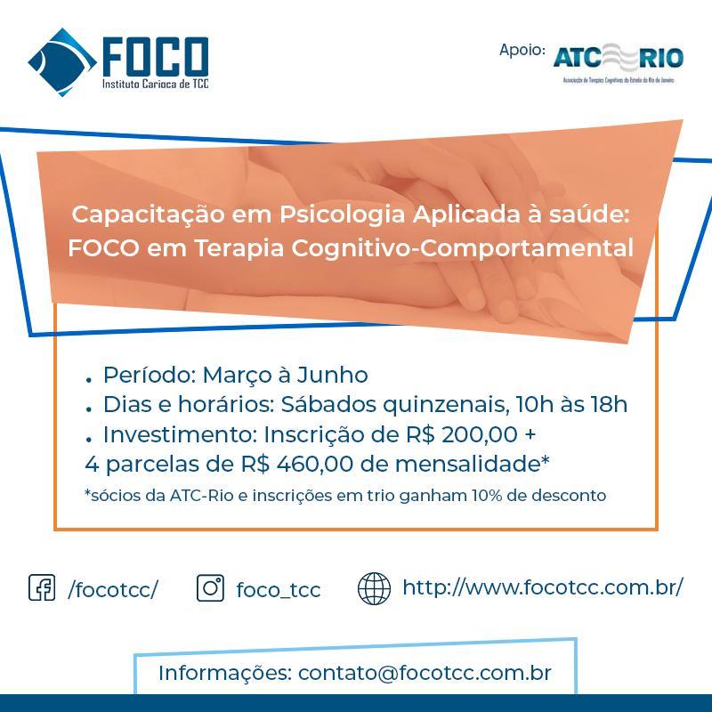 Capacitação em Psicologia Aplicada à saúde: FOCO em TCC