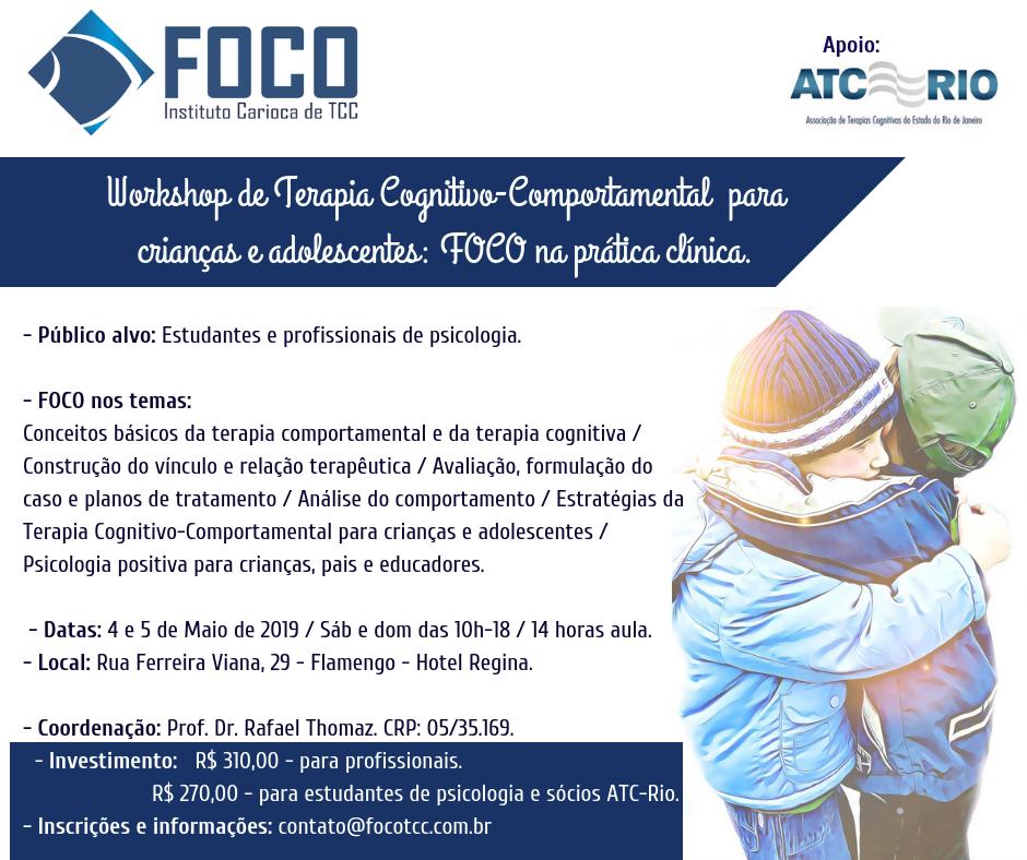 Workshop de TCC para Crianças e adolescentes: FOCO na prática clínica