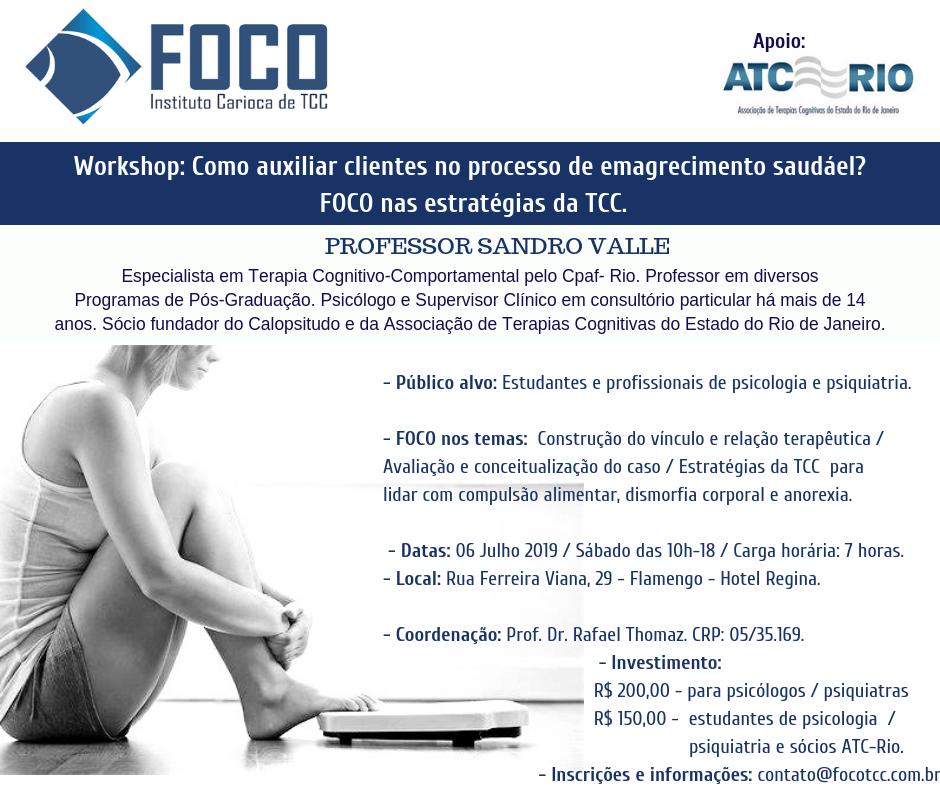 Workshop: Como auxiliar clientes no processo de  emagrecimento saudável? FOCO nas estratégias da TCC