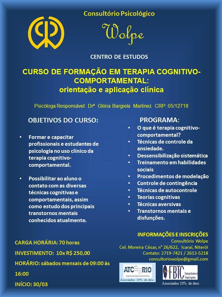 CURSO DE FORMAÇÃO EM TCC: Orientação e aplicação clínica