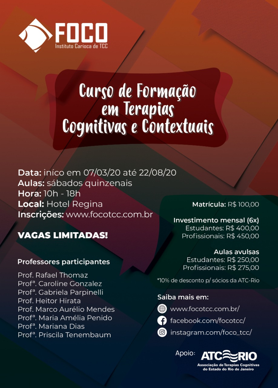 Curso de Formação em Terapias Cognitivas e Contextuais